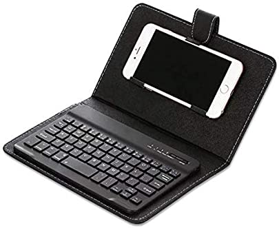 Ztoma Bluetooth Tastatur mit Etui  Tragbar Kunstleder Tastatur Abdeckung H lle Telefon Drahtlose Bluetooth Tastatur f r iPhone Android Schwarz