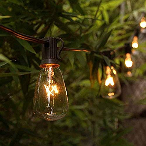 AGICLIGHT 25ft Outdoor Edison Bulb String Lights ST35 Edison Bulbs(Plus 2 Extra Bulbs), UL Listed for Indoor/Outdoor Decor, Perfect for Garden/Backyard/Pergola/Patio/Party (Black)