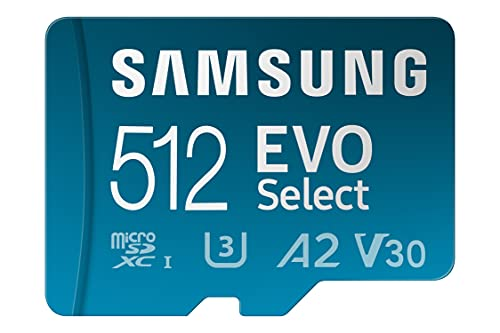 SAMSUNG EVO Select + Adapter 512GB microSDXC 130MB/s Full HD & 4K UHD, UHS-I, U3, A2, V30 (MB-ME512KA/AM)