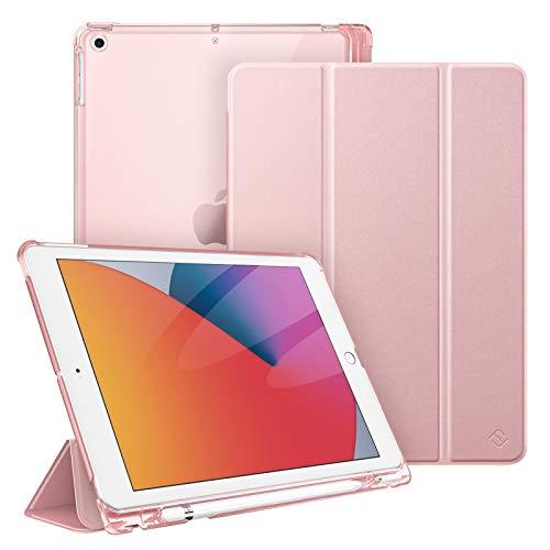 Fintie Hülle für iPad 8. Generation (2020) / 7. Gen (2019) 10.2 Zoll mit Pencil Halter, Superdünn Leichte Schutzhülle mit durchsichtiger Rückseite Abdeckung mit Auto Schlaf/Weck, Roségold