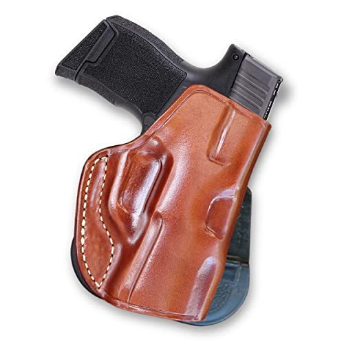 Masc Premium Leather Paddle Holster Fits Regular Sig P365 with Out Rail 9mm Micro Compact 3.1''BBL, Right Hand, Brown #1329#