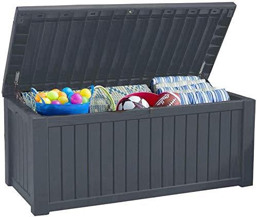 Koll Living Auflagenbox/Kissenbox 570 Liter l 100{9a5ce278fc72179a45037b6b79974cf90fa9e2a1ce34d605bf11271b5b66f0a2} Wasserdicht l mit Belüftung dadurch kein übler Geruch/Schimmel l Moderne Holzoptik l Deckel belastbar bis 250 KG (2 Personen) (Anthrazit)