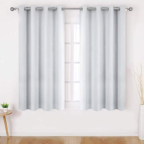 HOMEIDEAS Greyish White Blackout Curtains for Bedroom 52 X 63 Inch Length 2 Panels Set Room Darkening Curtains/Drapes, Soundproof Thermal Grommet Window Curtains for Living Room