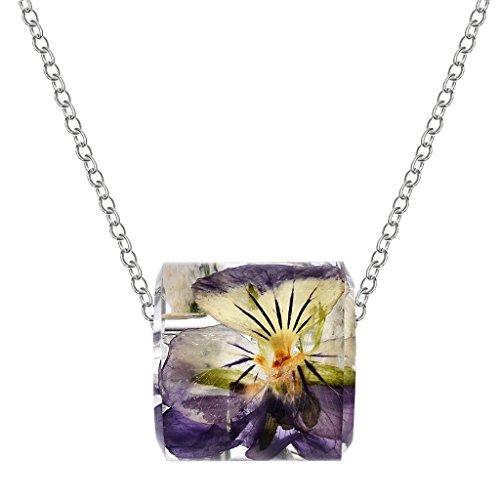 perfeclan Hueco Increíble Cilíndrico Flor Seco Colgante Collar Encanto Accesorios - Púrpura