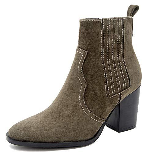 Zoducaran Mujer Botines Stacked Alto Tacón Ancho Clásico Chelsea Booties Cremallera Cosplay Shoes Animal...