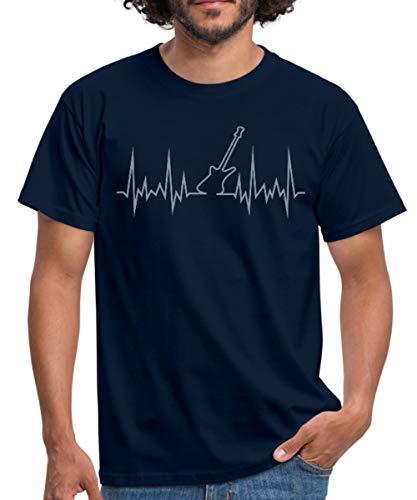 E-Gitarre Frequenz Männer T-Shirt, 3XL, Navy