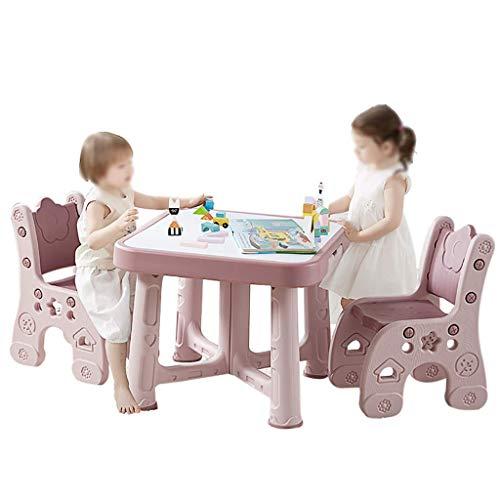 Yyqt Table et Chaise for Enfants, 1 Table 2 chaises, for Enfant en Bas âge 2-8 Ans Little Kid Meubles for Enfants Accessoires Place Hauteur Ajustable (Color : Pink, Size : 1 Table 2 Chairs)