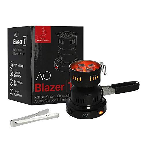 AO® Blazer T elektrischer Shisha Kohleanzünder 650W | Mit schonendem Lochblech, Kohlezange und abnehmbarem Griff!