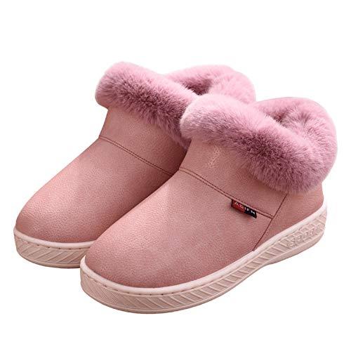 Zapatillas de botas cortas de espuma viscoelástica para mujer, zapatillas cerradas impermeables de PU para exteriores, botas de tobillo con forro de piel borrosa y cómoda para hombre-Rosado_40-41