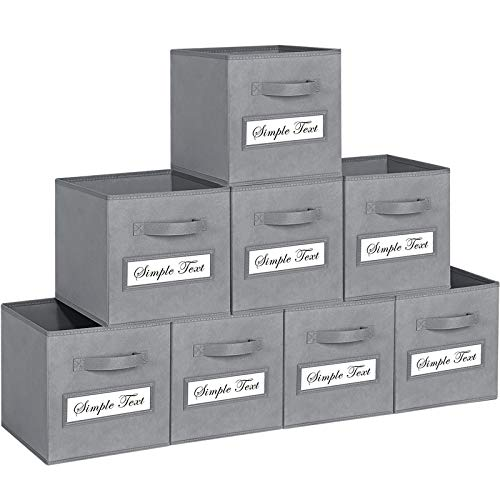 TomCare 8-Pack Storage Cubes Foldable Fabric Cube Storage Bins with 10 Label Window Cards Cloth Cube Organizer Bins Storage Baskets Containers for Shelves Closet Organizers Cubby Cube Storage Grey