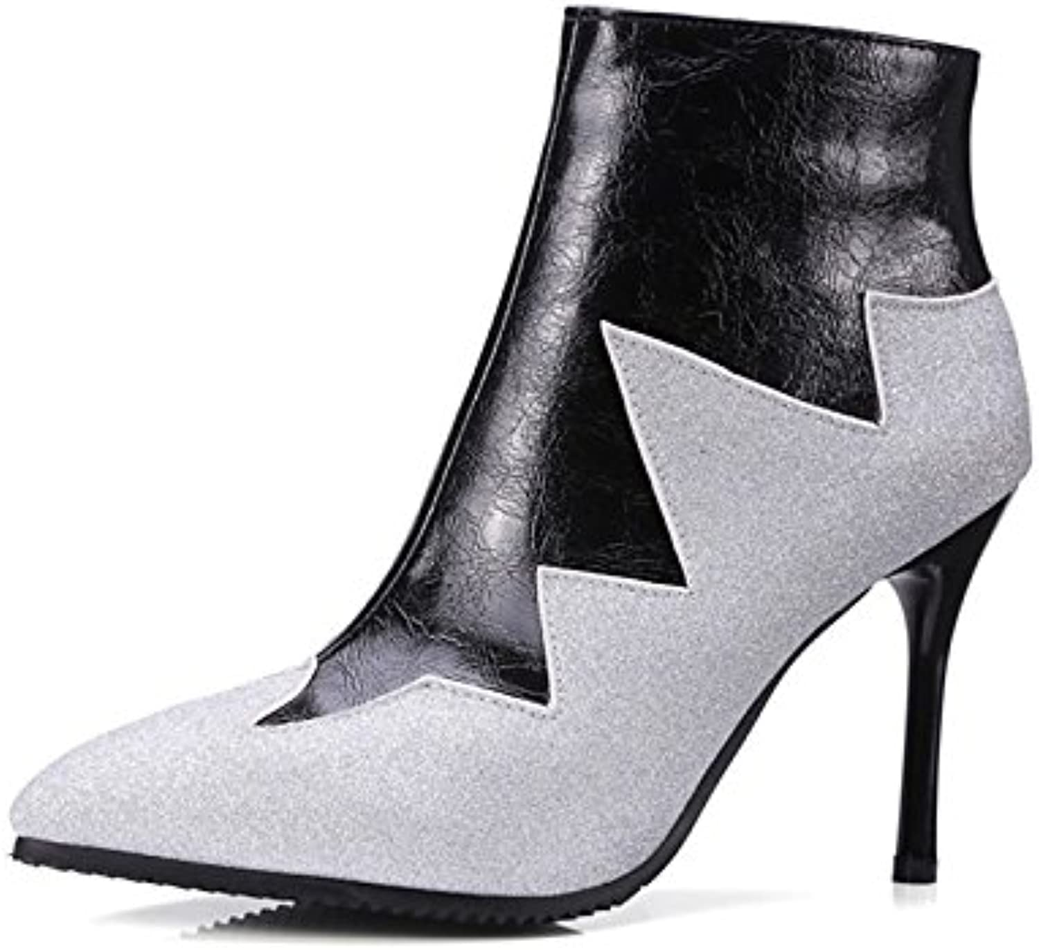 HSXZ Women's shoes Leatherette Winter Fall Fashion Boots Bootie Boots Stiletto Heel Pointed Toe Booties Ankle Boots for Office\Career Dress