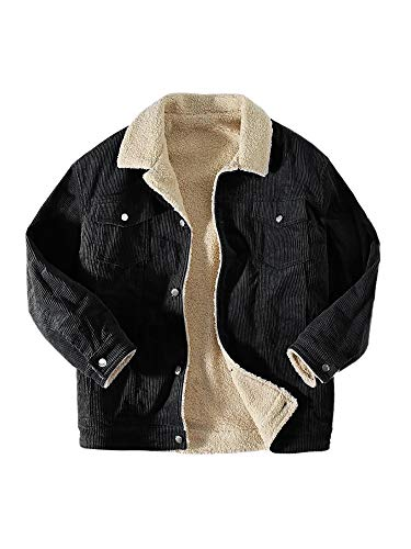 Ryannology Mens Corduroy Sherpa Lined Jacket Casual Button Up Turn Down Collar Warm Trucker Jackets Black
