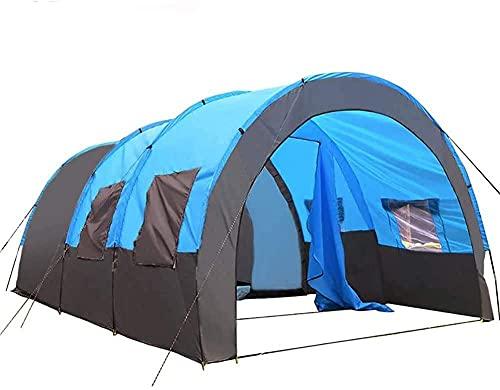 Tienda de campaña de túnel para festivales con 2 cabinas para dormir de 5 a 6 hombres, resistente al agua y con revestimiento UV, fácil de configurar al aire libre