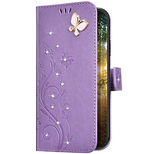 Uposao Kompatibel mit iPhone 11 Pro Hülle Leder Handy Hülle Schutzhülle Glänzend Glitzer Bling Strass Diamant Schmetterling Blumen Flip Tasche Case Lederhülle Klapphülle,Helles Lila