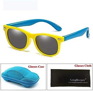 YMYGBH - Gafas de sol de espejo for niños con el caso Niño Niña polarizado de seguridad de silicona Gafas de sol regalo for los niños del bebé