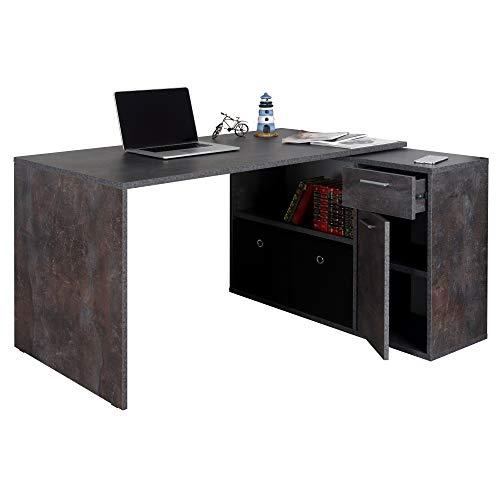 RICOO WM083-BG Schreibtisch Beton-Grau Optik Winkelkombination Arbeitstisch Bürotisch Computertisch Eckschreibtisch Akten Schrank Lowboard