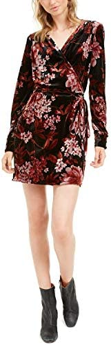 Leyden Velvet Wrap Mini Dress Black Floral Print M product image
