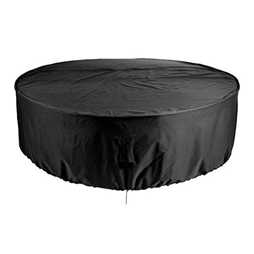 Huolirong Funda Protectora para Muebles De Mesa Redonda Tarea Pesada Impermeable Funda De Protección Circular, Negro Muebles De Jardín Funda (Size : 185x110CM)