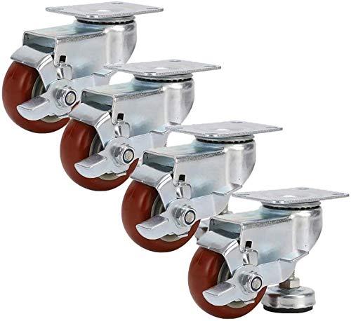 LYQQQQ 4X Lenkrollen, 3in mittlerer Sdjustable Unterstützung Castor, verdickte Bracket, 4 Räder statische Last 300KG, gebraucht for schwere Möbel, Vitrinen (Color : Red, Size : B)