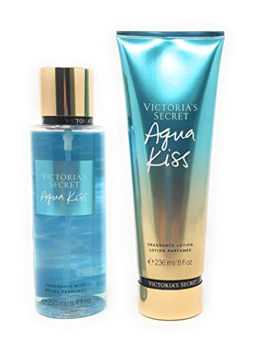 Set Victoria's Secret Aqua Kiss Body Mist 250 ML + Crema 236 ML