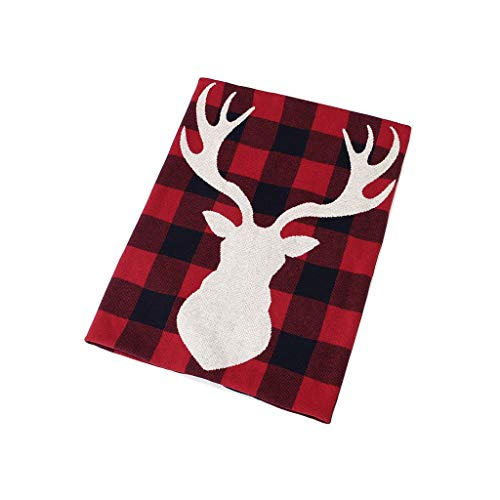 Fineday Christmas Elk Plaid Knitted Blanket for Newborn Infants and Children, Home Decor for Christmas Day (A)