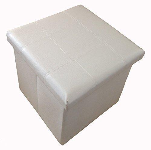 GMMH Original - Taburete Cubo de Almacenamiento para Sentarse, Caja Plegable 38 x 38 x 38 cm - Blanco