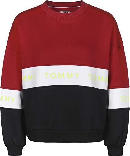 Tommy Jeans Damen Colorblock Kurzarm Langarmshirt Schwarz (Tommy Black / Multi 902) Large (Herstellergröße: L)