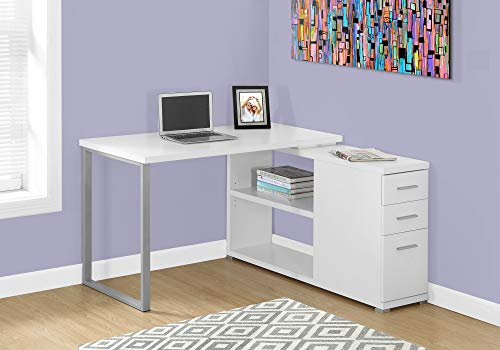 Monarch Specialties Computer L-Shaped-Left or Right Set Up-Contemporary Style Corner Desk with Open Shelves and Drawers, 48' L, White