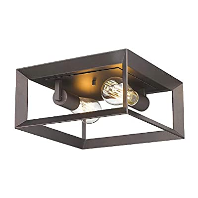 FEMILA 2-Light Flush Mount Ceiling Light Fixture, 12 inch Retro Industrial Rectangle Ceiling Lamp, Oil Rubbed Bronze Finish, 4FH33-F ORB