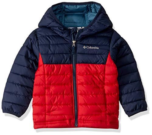 Columbia Powder Lite Boys Hooded Jacket, Giacca con Cappuccio Bambino, Rosso/Blu (Rosso/Blu (Mountain Red, Collegiate Navy), L