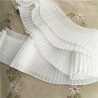 FidgetKute - Falda de Tela Plisada de 2 Yardas con Borde de Encaje y Volantes de 3.14 Pulgadas de Ancho, Ivory, 1