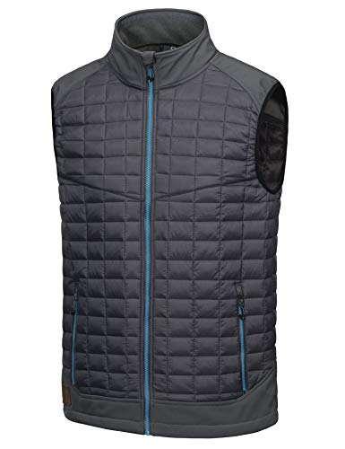Little Donkey Andy Men's Lightweight Puffer Vest, Warm Outdoor Sleeveless Jacket for Hiking Travel Running Golf Grey M