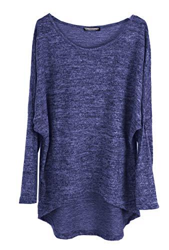 Emma & Giovanni - Pullover/T-Shirt Oversize - Damen (S-M, Blau)