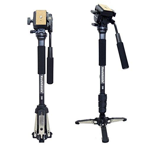"Koolehaoda Professional Camera Aluminium Monopod Fluid Video Head with Folding Three Feet Support Stand, Max:58.2""(OEM Yunteng288 Monopod)"