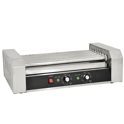 Omcan Food Machinery Hotdog Roller Grill 23' Wide x 13' Deep x 7' High - 7 Rollers, Holds 18 Hot Dogs; 900 Watts