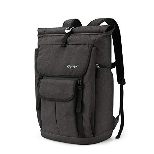 Gonex 35L Laptop Rucksack Laptoprucksack Notebook Wasserabweisende Schultasche mit Mehreren Taschen für Arbeit Business Schule Reisen Wandern Camping - Schwarz