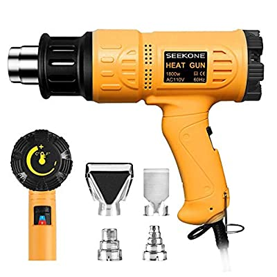 SEEKONE Heat Gun 1800W Heavy Duty Hot Air Gun Kit Variable Temperature Control with 2-Temp Settings 4 Nozzles 122?~1202??50?- 650??with Overload Protection for Crafts, Shrinking PVC, Stripping Paint