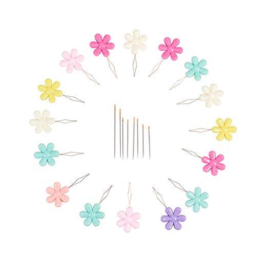 NBEADS 40 Stücke Nadeleinfädler, Nadeleinfädler Nähnadel Einfädelhilfe Fadenführer Werkzeuge Mit Klarsichtbox Und 18 Stücke Stahl Nähnadeln Für Frauen Kreuzstich Stickerei, Gemischte Farbe