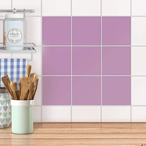 creatisto Küchenfolie I Design-Folie Sticker Aufkleber Fliesen-Dekoration Bad-Fliesen Küchengestaltung I 15x15 cm Farbe Flieder Light - 9 Stück