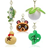 SDFQ 5Pcs / Anime Dibujos Animados Animal Crossing Peluche Juguetes De Peluche 10 / 15Cm Muñecos Mapache Hermanos Felpa Animal Bolso Árbol Hoja Llaveros Niños Cumpleaños