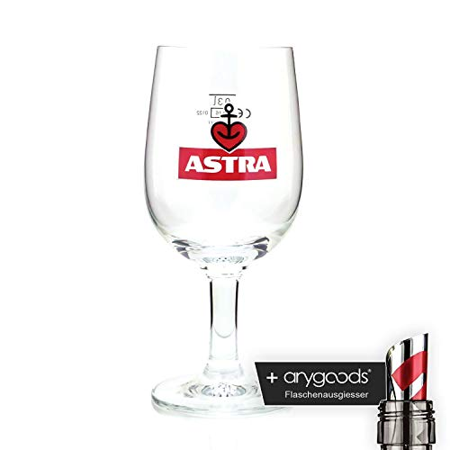 Astra Herzanker 0,3l Glas/Gläser, Markenglas, Bierglas NEU + anygoods Flaschenausgiesser