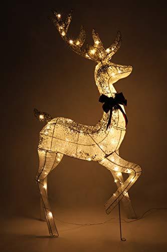 Christmas Concepts 1,5 m / 5 pies de champán y Reno de ratán Blanco con LED Blancos cálidos - Funcionamiento...