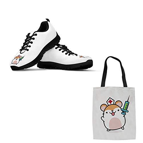 Woisttop Zapatillas de tenis para correr para mujer, ligeras, informales, con una bolsa de lona (2 artículos), color, talla 43 EU