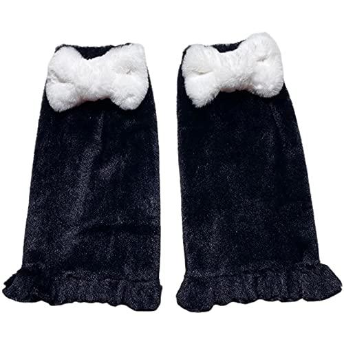BZB Women's Kawaii Pink Bow Leg Warmer Socks Lolita Harajuku Fuzzy Fluffy Plush Cartoon Cosplay Foot Warm Socks For Girls