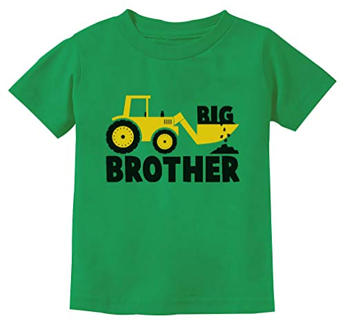 Big Brother Shirt for Toddler Boys Tractor Big Bro Shirt Promoted to Big Brother 3T Green