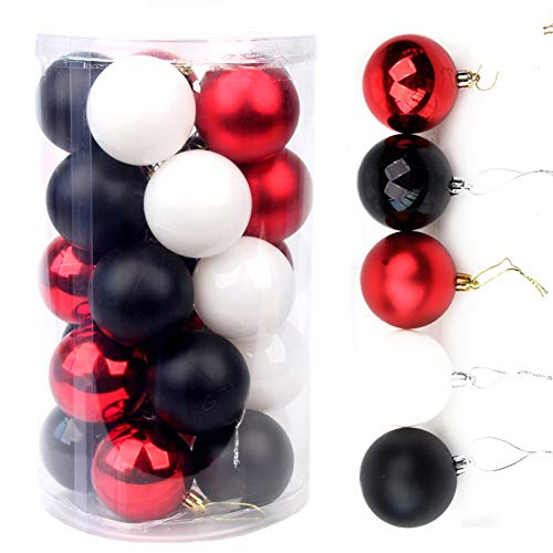 Christmas Balls, 2.3 Inches 25 Large Christmas Balls Christmas Decoration Balls (Black And Red, 2.3 Inches. 6 Cm)