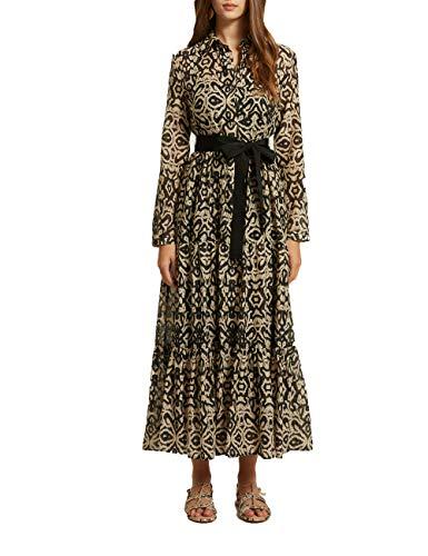Motivi : Langes Hemdblusenkleid mit Ethno-Muster Braun 42 (Italian Size)