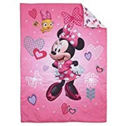 Disney Minnie cœurs et nœuds de 4 pièces pour enfant, compatible avec, Standard Matelas pour bébé (132,1 x 71,1 x 20,3 cm)