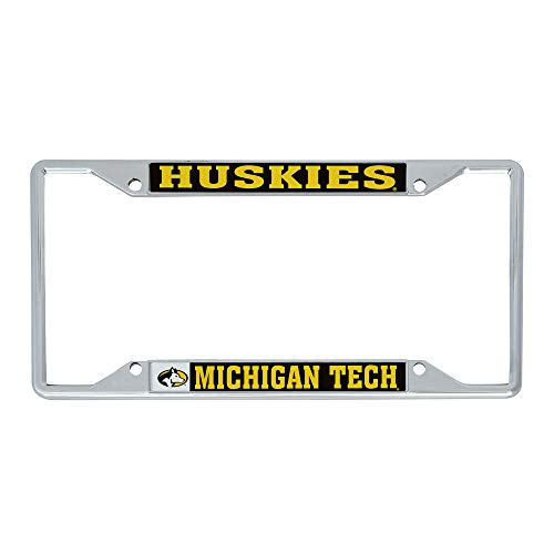 Desert Cactus Michigan Technological University MTU Huskies NCAA Metal License Plate Frame for Front or Back of Car Officially Licensed (Mascot)