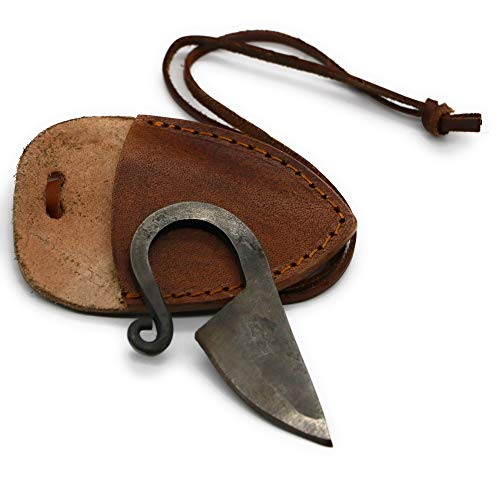 VikingsBrand - Hand Forged Viking Knife (Brown Leather Sheath) | Unique Gifts for Men and History Lovers | Damascus Steel Celtic Neck Knife with Leather Necklace Cord | Viking Pocket Knives